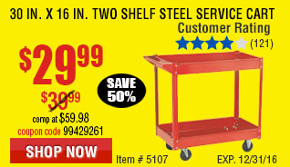 30 In. x 16 In. Two Shelf Steel Service Cart