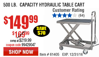 500 lb.  Capacity Hydraulic Table Cart