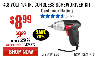 4.8 Volt 1/4 in. Cordless Screwdriver Kit