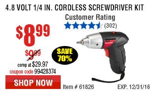 4.8 Volt 1/4 in. Cordless Screwdriver Kit