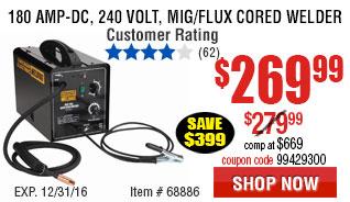 180 Amp-DC, 240 Volt, MIG/Flux Cored Welder