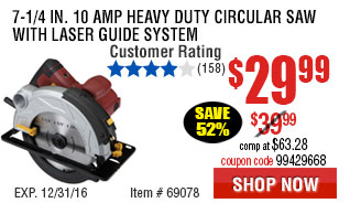 7-1/4 in. 10 Amp Heavy Duty Circular Saw With Laser Guide System