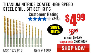 Titanium Nitride Coated High Speed Steel Drill Bit Set 13 Pc