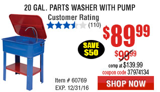 20 gal. Parts Washer with Pump