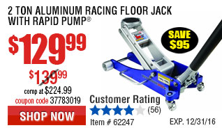 2 Ton Aluminum Racing Floor Jack with Rapid Pumpw