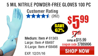 5 mil Nitrile Powder-Free Gloves 100 Pc Large