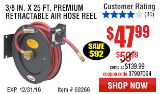 3/8 in. x 25 ft. Premium Retractable Air Hose Reel