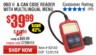 OBD II  & CAN Code Reader with Multilingual Menu
