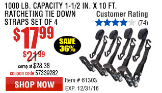 1000 lb. Capacity 1-1/2 in. x 10 ft. Ratcheting Tie Down Straps Set of 4