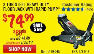 3 ton Steel Heavy Duty Floor Jack with Rapid Pump