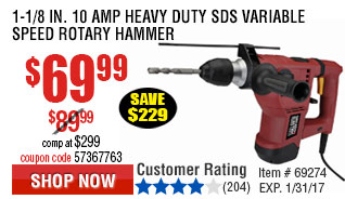 1-1/8 in. 10 Amp Heavy Duty SDS Variable Speed Rotary Hammer