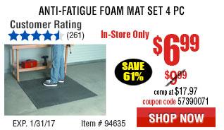 Anti-Fatigue Foam Mat Set 4 Pc
