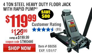 4 ton Steel Heavy Duty Floor Jack with Rapid Pump
