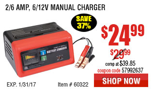 2/6 Amp, 6/12V Manual Charger