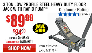 3 ton Low Profile Steel Heavy Duty Floor Jack with Rapid Pump