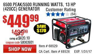 6500 Peak/5500 Running Watts, 13 HP  (420cc) Generator EPA III