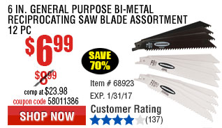 6 in. General Purpose Bi-metal Reciprocating Saw Blade Assortment 12 Pc