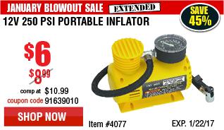 12V 250 PSI Portable Inflator