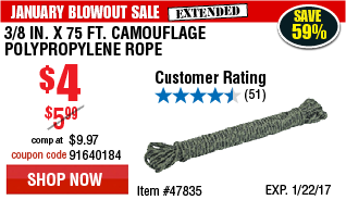 3/8 in. x 75 ft. Camouflage Polypropylene Rope