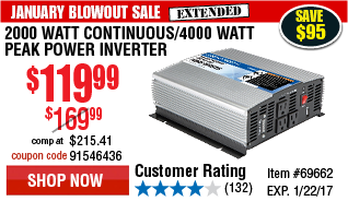 2000 Watt Continuous/4000 Watt Peak Power Inverter