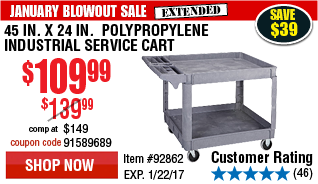 45 In. x 24 In.  Polypropylene Industrial Service Cart
