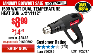1500 Watt Dual Temperature Heat Gun 572°/1112