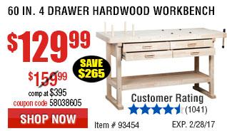 60 in. 4 Drawer Hardwood Workbench