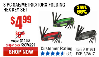 3 Pc SAE/Metric/Torx Folding Hex Key Set