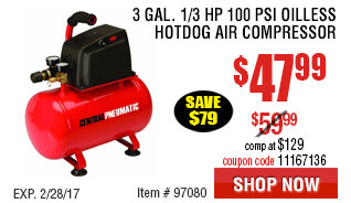 3 gal. 1/3 HP 100 PSI Oilless Hotdog Air Compressor