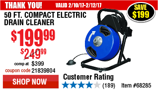 50 ft. Compact Electric Drain Cleaner