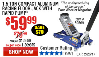 1.5 Ton Compact Aluminum Racing Floor Jack with Rapid Pump