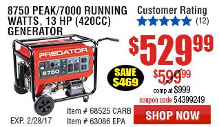 8750 Peak/7000 Running Watts, 13 HP  (420cc) Generator