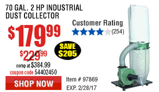 70 gal. 2 HP Industrial Dust Collector
