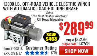 12000 lb. Off-Road Vehicle Electric Winch with Automatic Load-Holding Brake