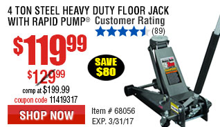 4 ton Steel Heavy Duty Floor Jack with Rapid Pump
