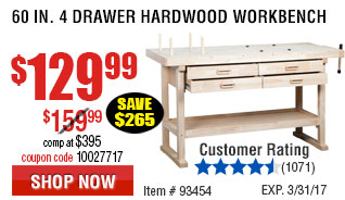 60 in. 4 Drawer Hardwood Workbench