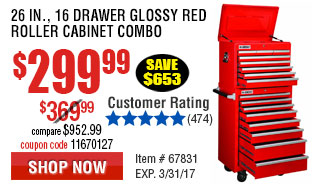 26 in., 16 Drawer Glossy Red Roller Cabinet Combo