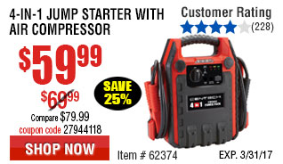 4-in-1 Jump Starter with Air Compressor