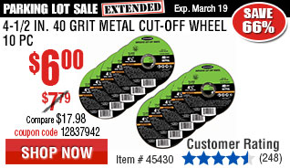 4-1/2 in. 40 Grit Metal Cut-off Wheel 10 Pc