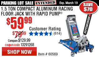 1.5 Ton Compact Aluminum Racing Floor Jack with Rapid Pump®