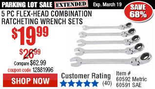 5 Pc SAE Flex-Head Combination Ratcheting Wrench Set