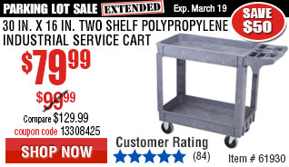 30 In. x 16 In. Two Shelf Polypropylene Industrial Service Cart