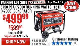 8750 Peak/7000 Running Watts, 13 HP  (420cc) Generator EPA III