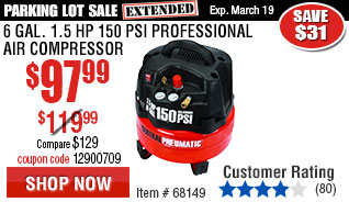 6 gal. 1.5 HP 150 PSI Professional Air Compressor