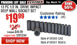 13 Pc 1/2 in. Drive SAE Impact Deep Wall Socket Set