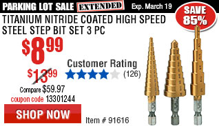 Titanium Nitride Coated High Speed Steel Step Bit Set 3 Pc