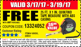 Free 25 ft. x 1 in. QuikFind Tape Measure with ABS Casing