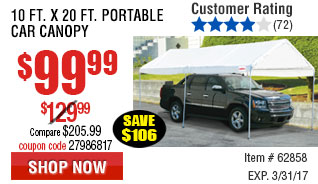 10 ft. x 20 ft. Portable Car Canopy