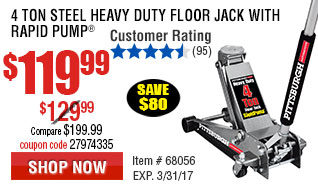 4 ton Steel Heavy Duty Floor Jack with Rapid Pump®