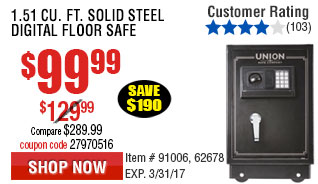 1.51 cu. ft. Solid Steel Digital Floor Safe
